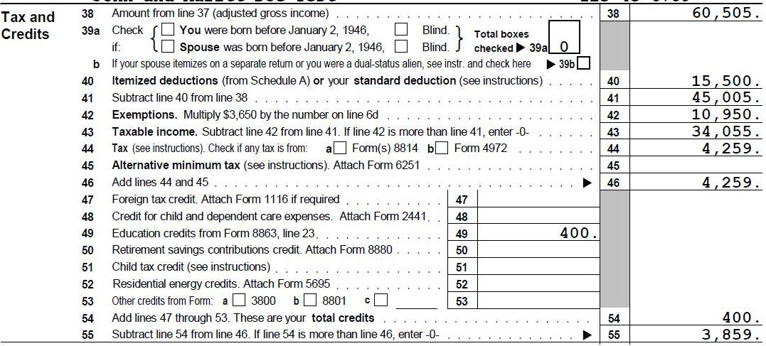 End of Form 1040 U.S. Individual Income Tax Return